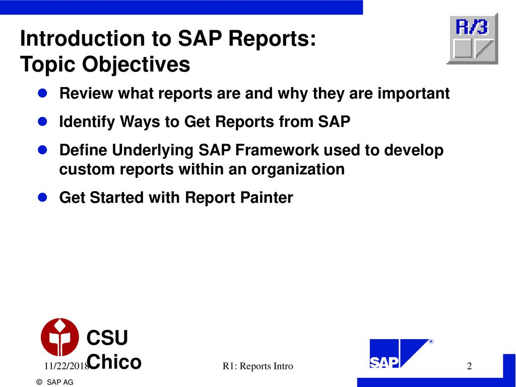 Introduction to SAP Reports: Topic Objectives