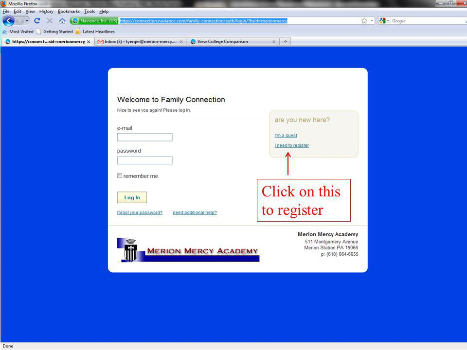Click on I need to register