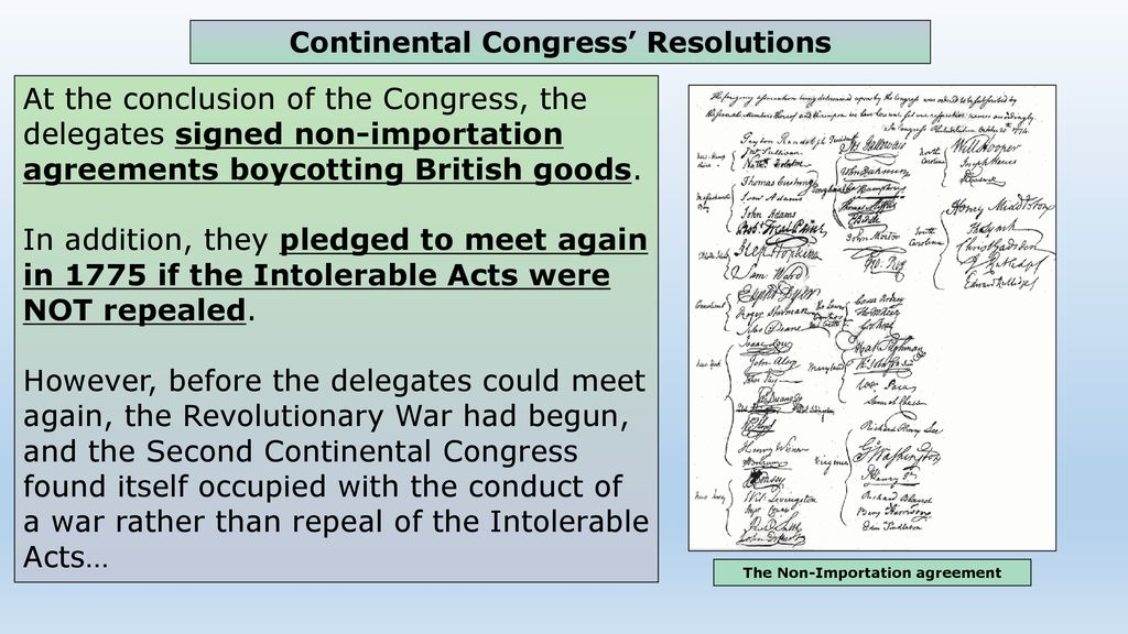 The Following Colonial Actions Led To The Declaration Of