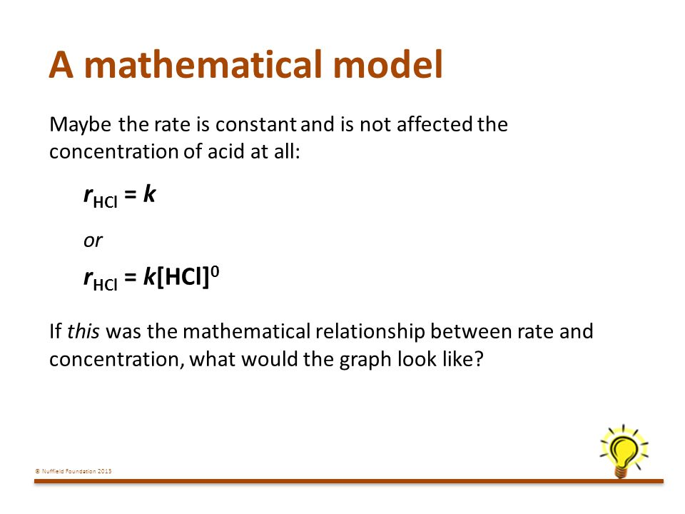 A mathematical model rHCl = k rHCl = k[HCl]0