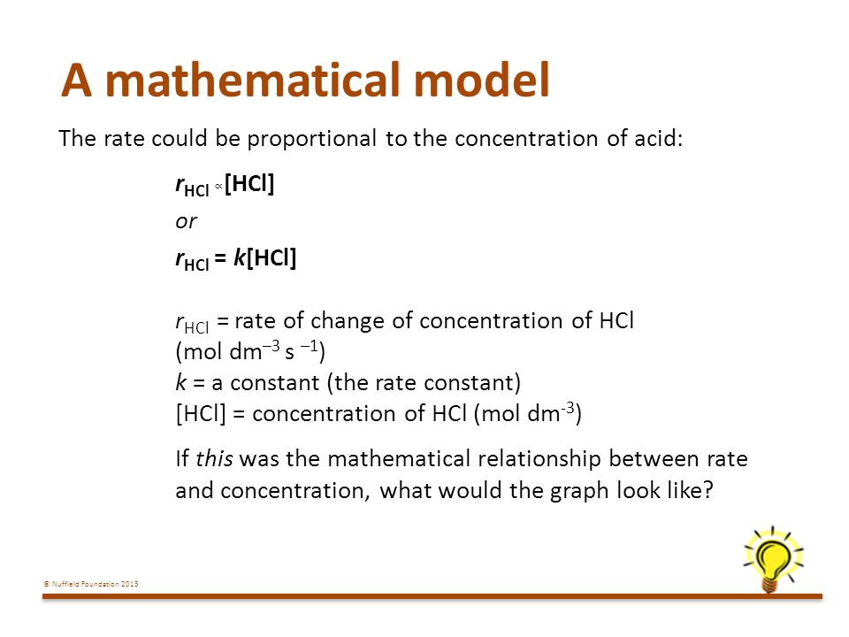 A mathematical model The rate could be proportional to the concentration of acid: rHCl ∝[HCl] or.