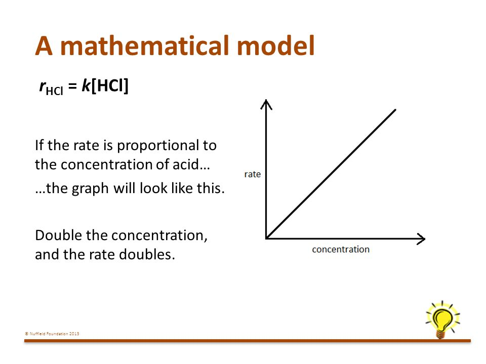 A mathematical model rHCl = k[HCl]