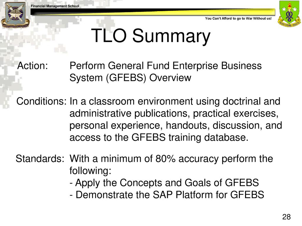 General Fund Enterprise Business System (GFEBS) Navigation