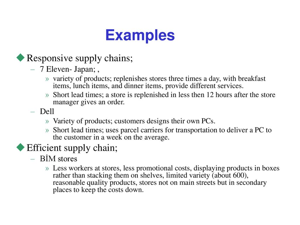 efficient and responsive supply chain examples