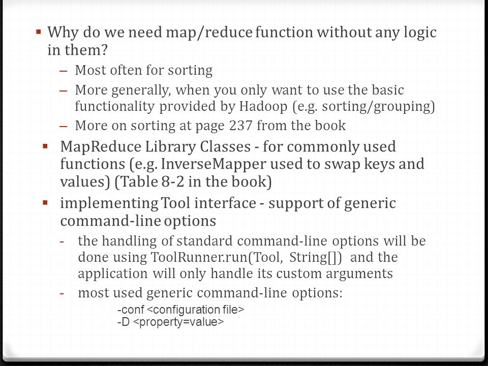 Why do we need map/reduce function without any logic in them