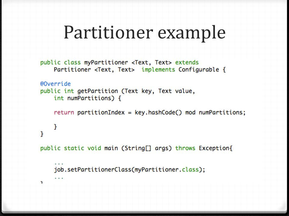 Partitioner example