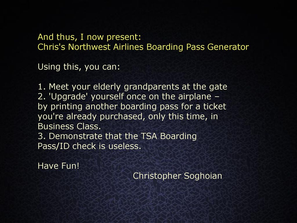 Hacktivism For The Masses The Northwest Boarding Pass Generator And