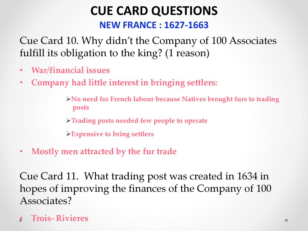CUE CARD QUESTIONS NEW FRANCE : - ppt download