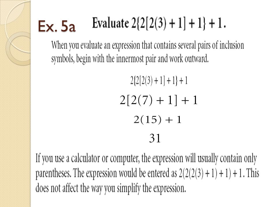 13 The Algebraic Order Of Operations Ppt Video Online Download
