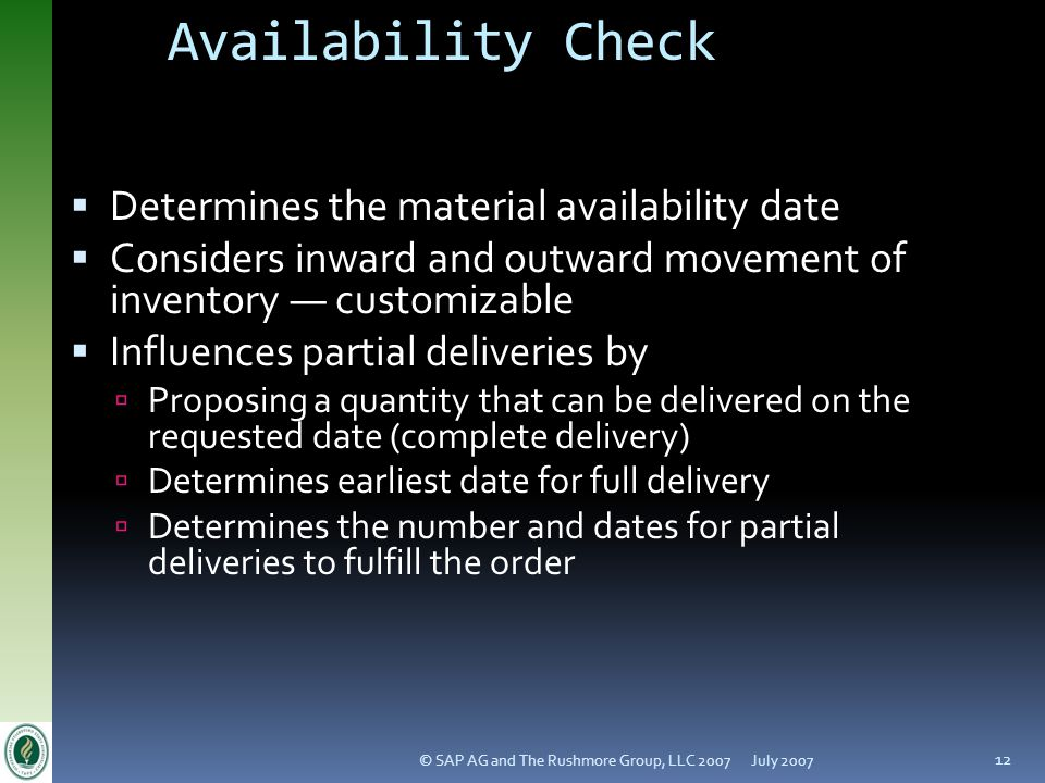 Availability Check Determines the material availability date