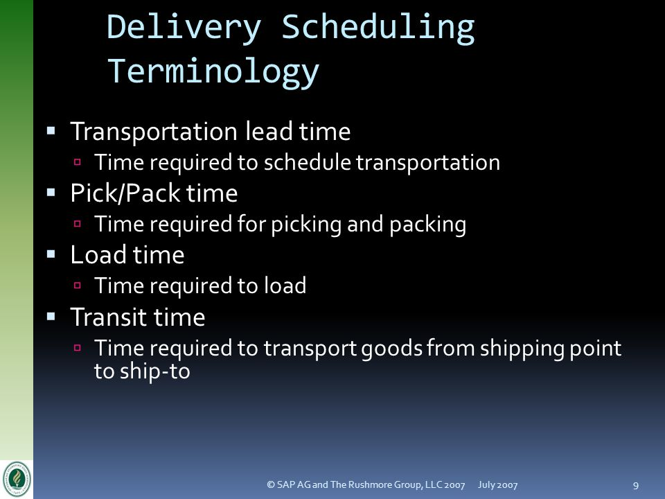 Delivery Scheduling Terminology