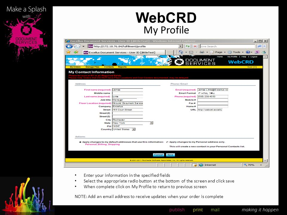 WebCRD My Profile Enter your information in the specified fields