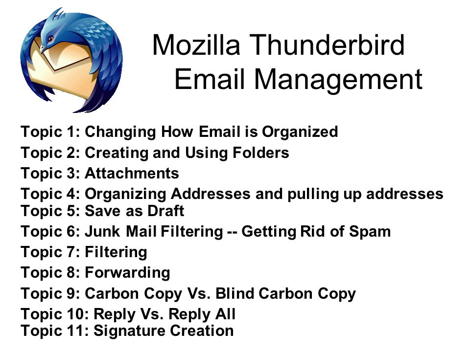 Mozilla Thunderbird Management - ppt video online download