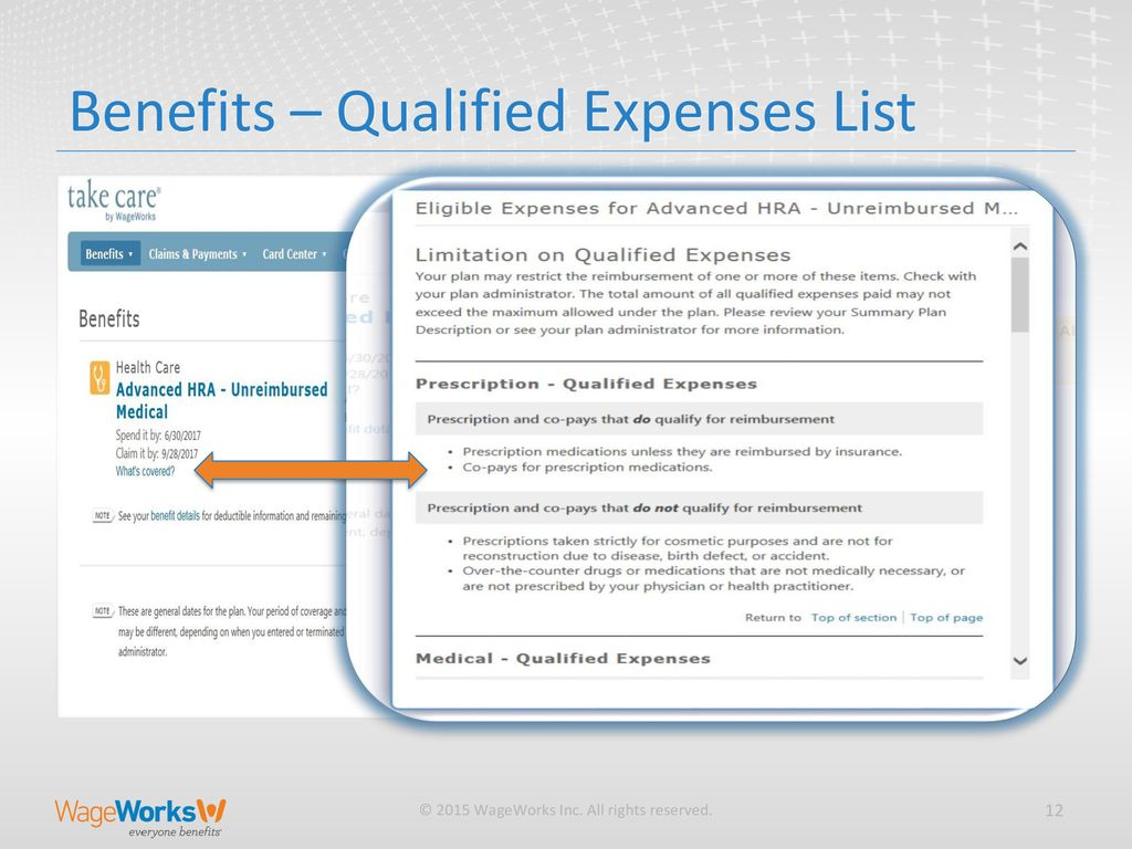 Benefits Qualified Expenses List