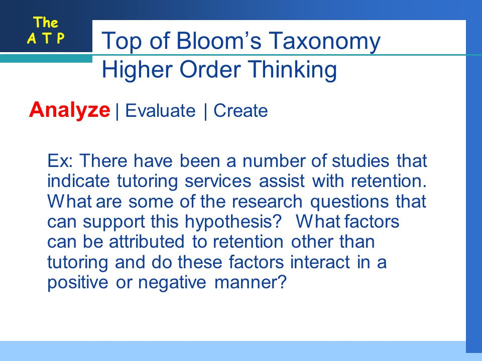 Top of Bloom's Taxonomy Higher Order Thinking