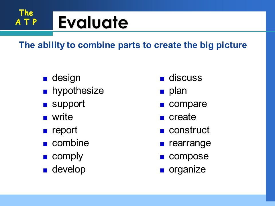 Evaluate discuss plan compare create construct rearrange compose