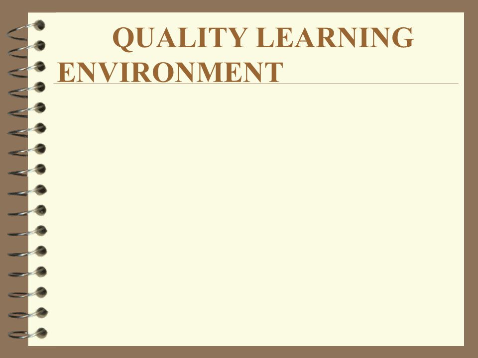 QUALITY LEARNING ENVIRONMENT