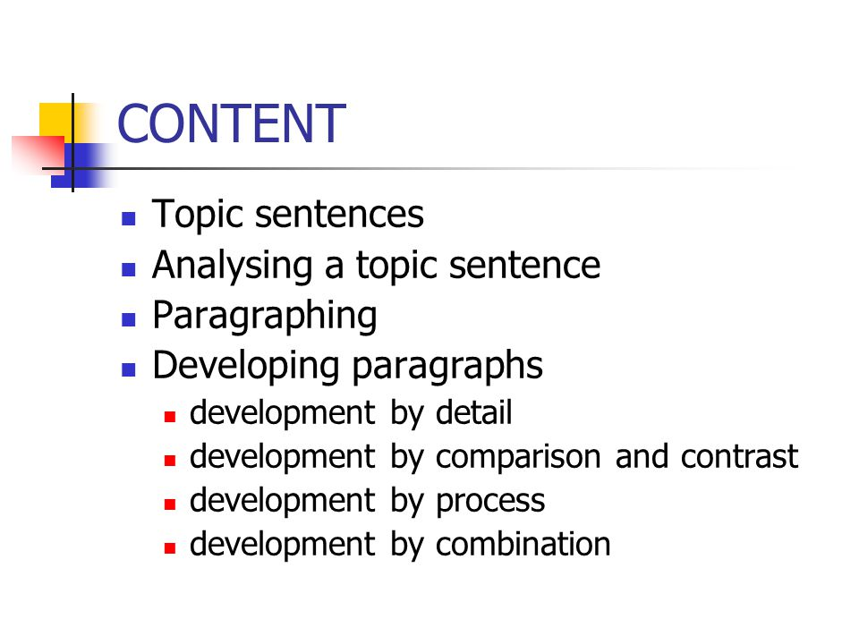CONTENT Topic sentences Analysing a topic sentence Paragraphing