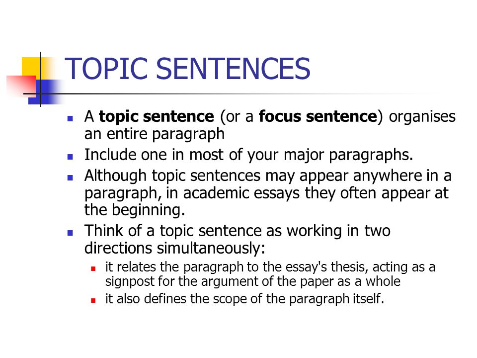 TOPIC SENTENCES A topic sentence (or a focus sentence) organises an entire paragraph. Include one in most of your major paragraphs.