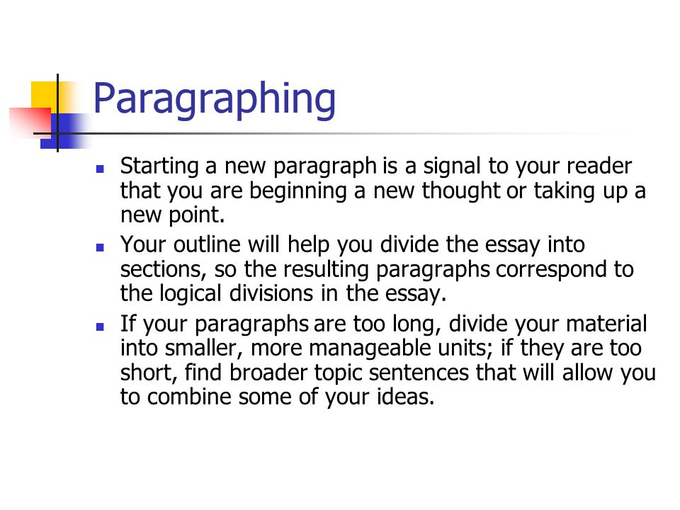 Paragraphing Starting a new paragraph is a signal to your reader that you are beginning a new thought or taking up a new point.