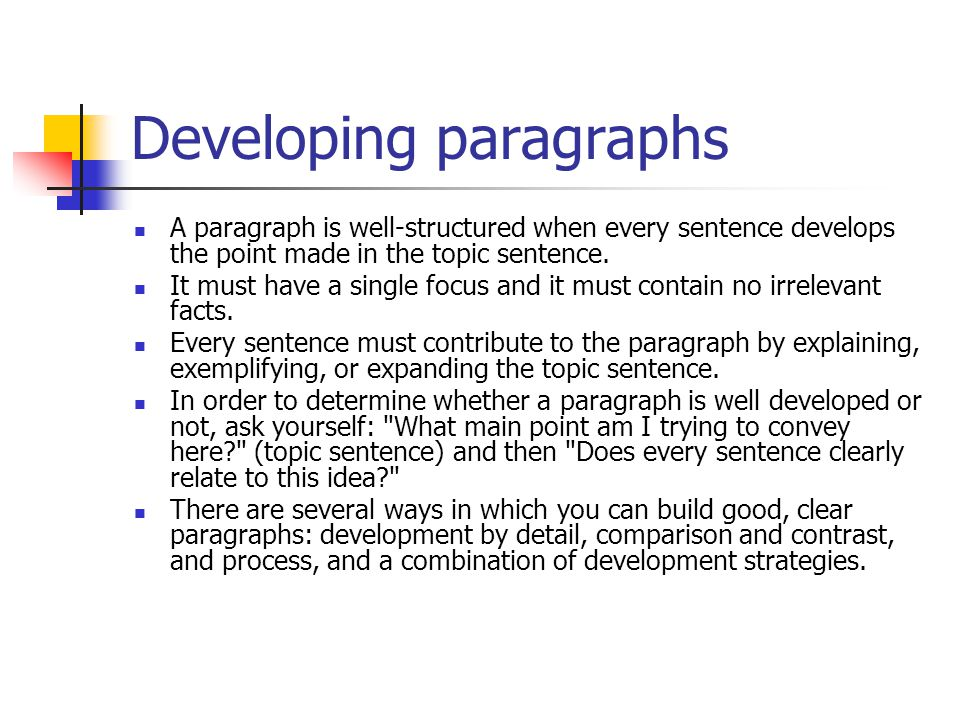 Developing paragraphs