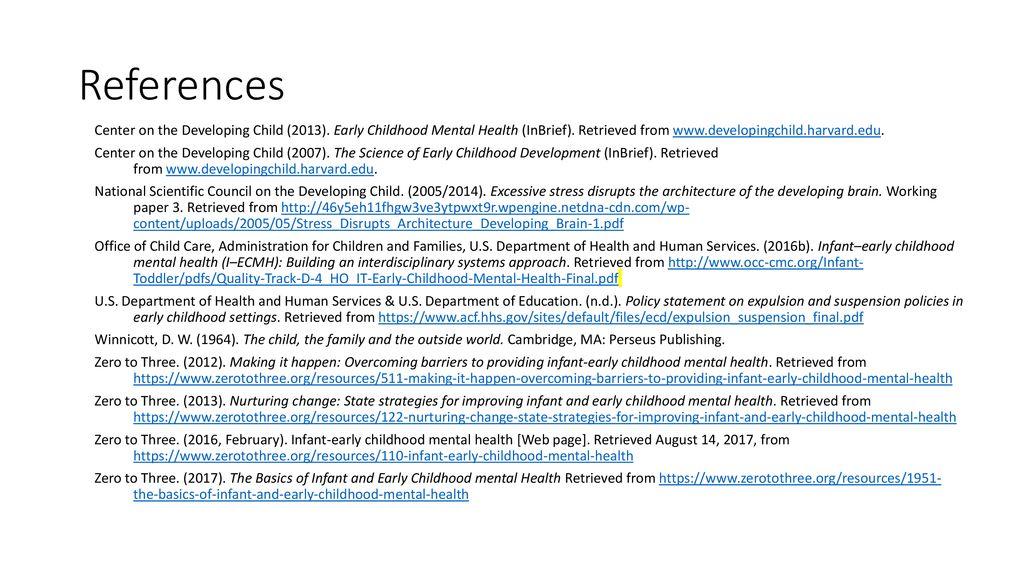 Inbrief Early Childhood Mental Health >> Infant Early Childhood Mental Health Competency Guidelines And