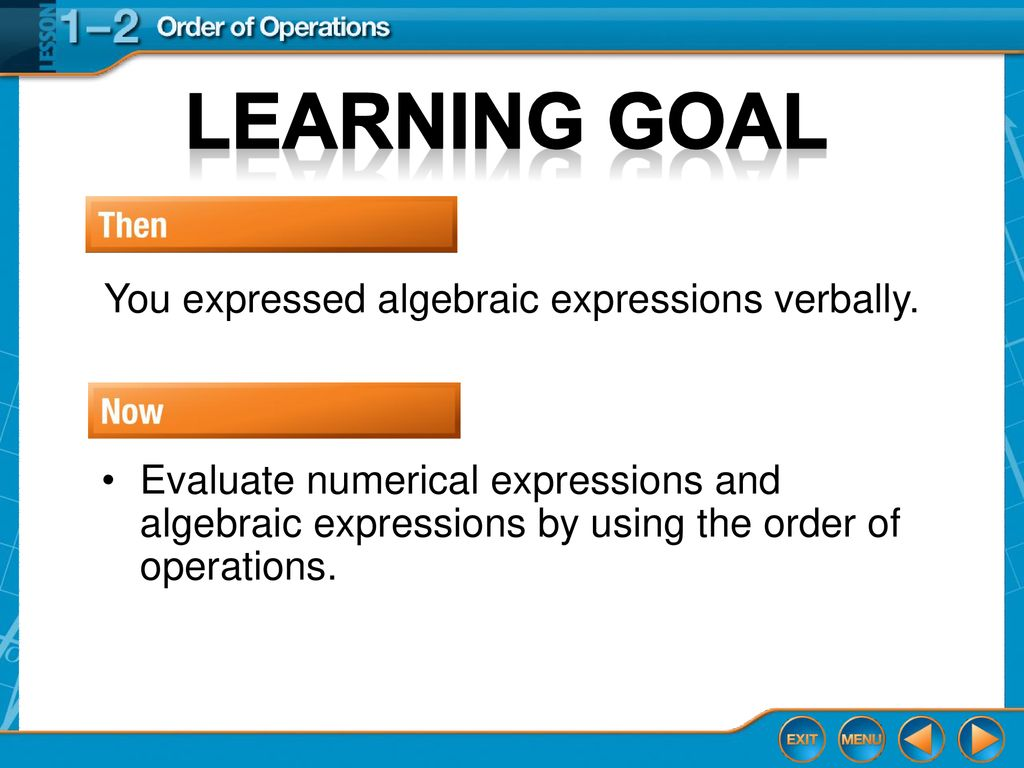 Lesson 1-2 Glencoe Algebra 1 Order of operations Lesson 1-2 Glencoe