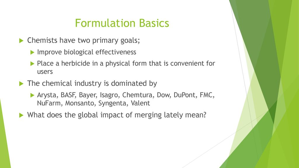 Herbicide Formulations - ppt download