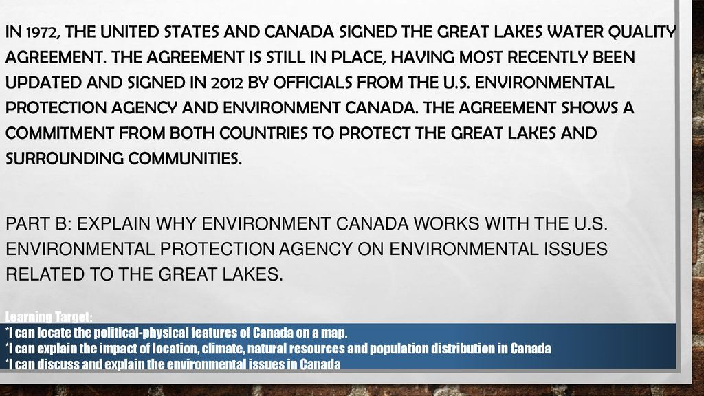 In 1972 The United States And Canada Signed The Great Lakes Water
