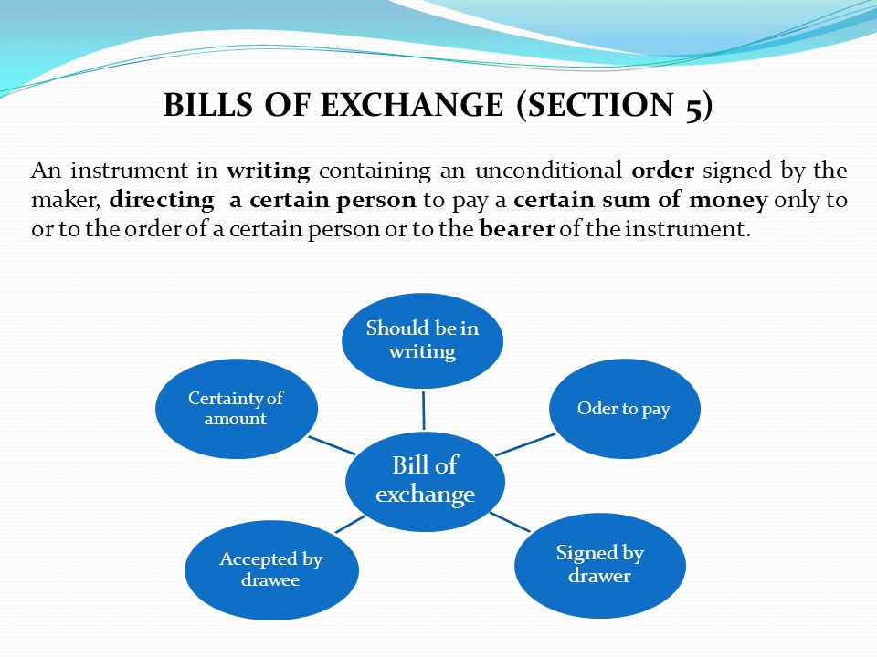 bills of exchange (section 5)