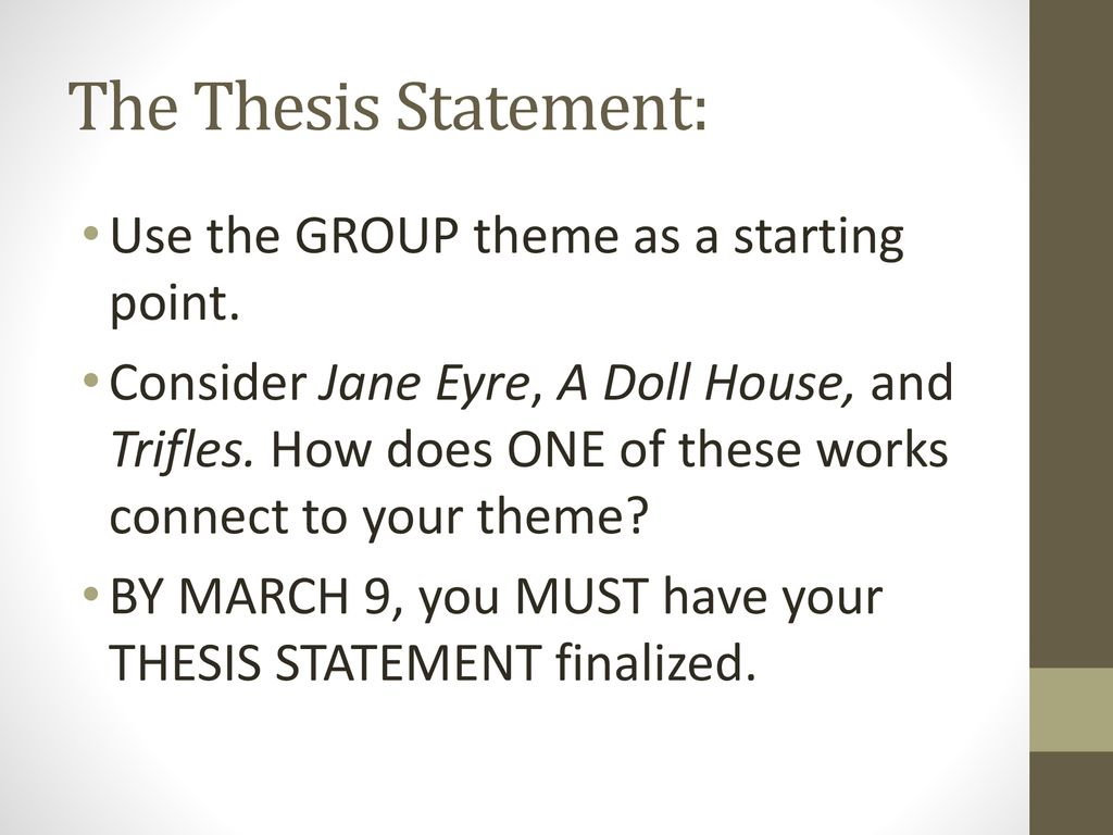 thesis statement for a dolls house