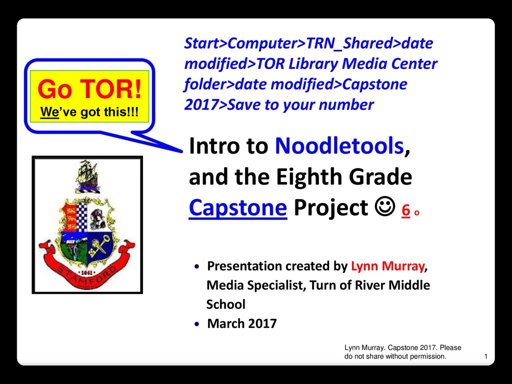 Intro to Noodletools, and the Eighth Grade Capstone Project