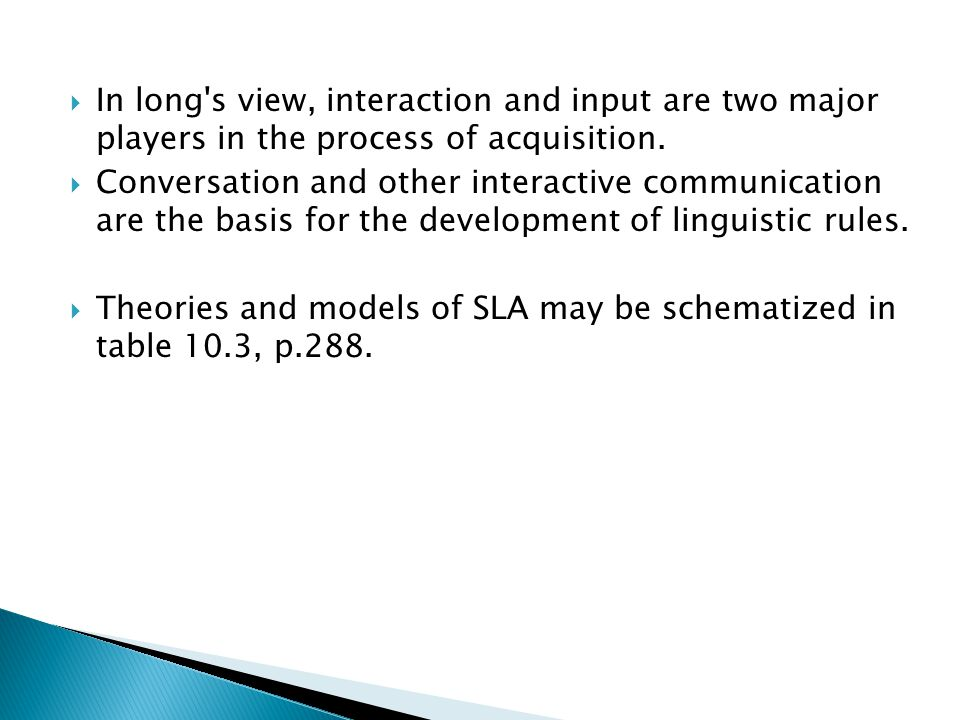 input interaction and sla essay Interaction for theories of input lies in the fact that it is through modifications to the structure of interaction that learners may be most readily observed struggling to make input comprehen sible.