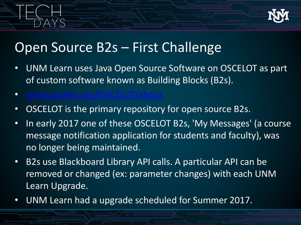 UNM Learn: Challenges and Opportunities with Open Source