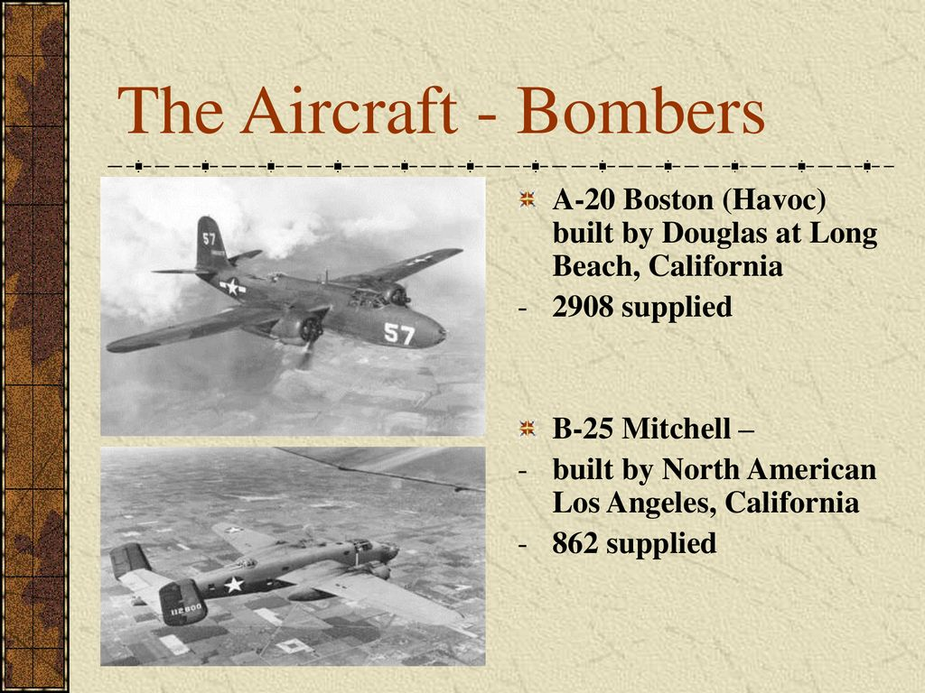 The Aircraft - Bombers A-20 Boston (Havoc) built by Douglas at Long Beach, California supplied.