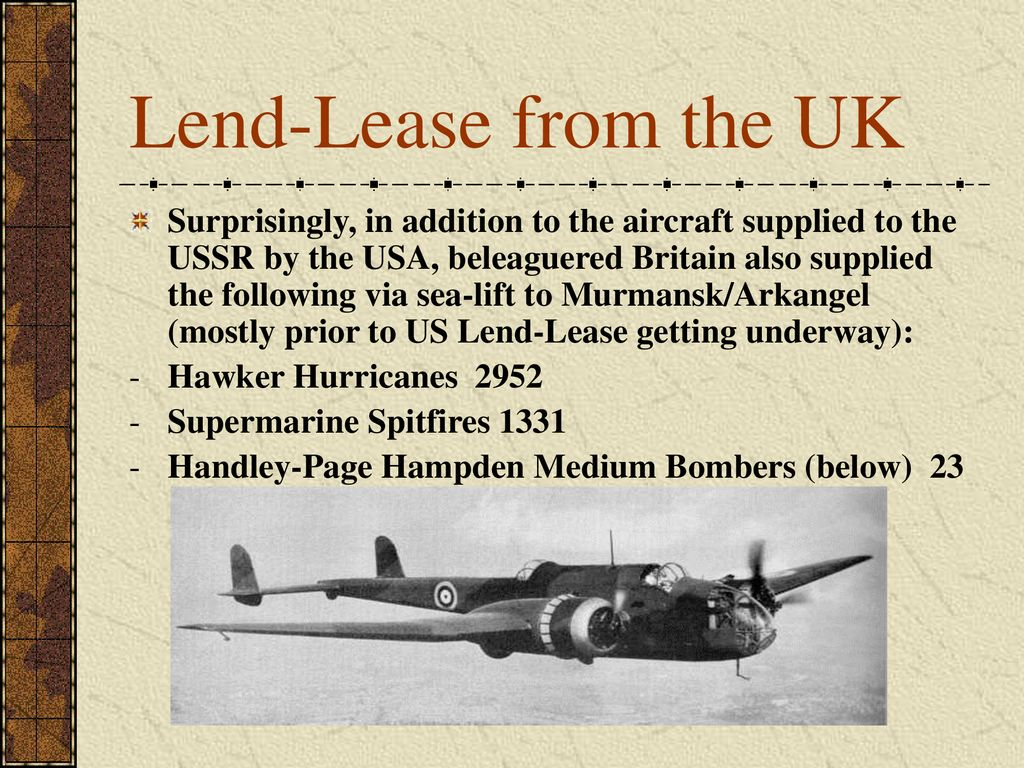 Lend-Lease from the UK