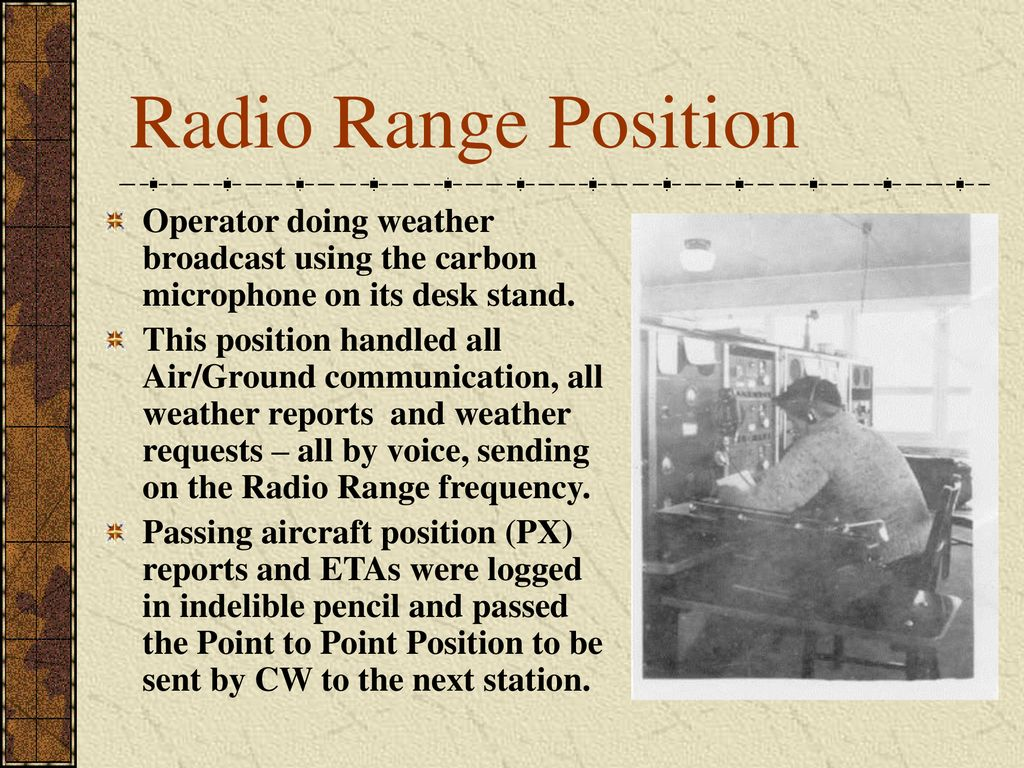 Radio Range Position Operator doing weather broadcast using the carbon microphone on its desk stand.