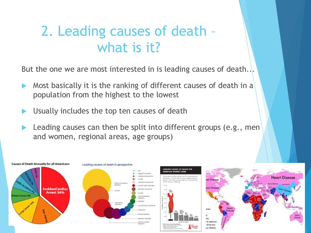Cause of Death data –Basic tabulations, leading causes and