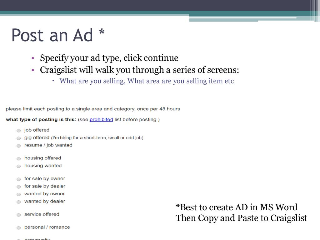 Introduction to Craigslist - ppt download