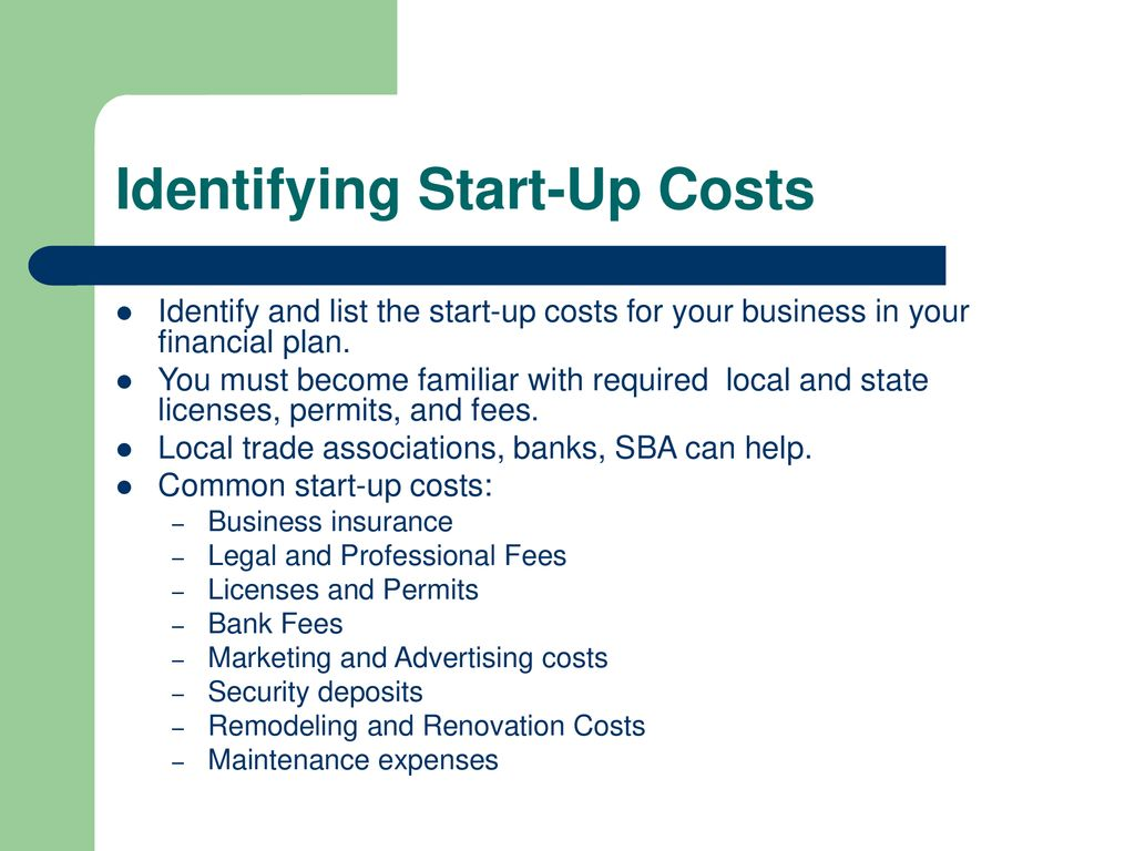 common startup costs