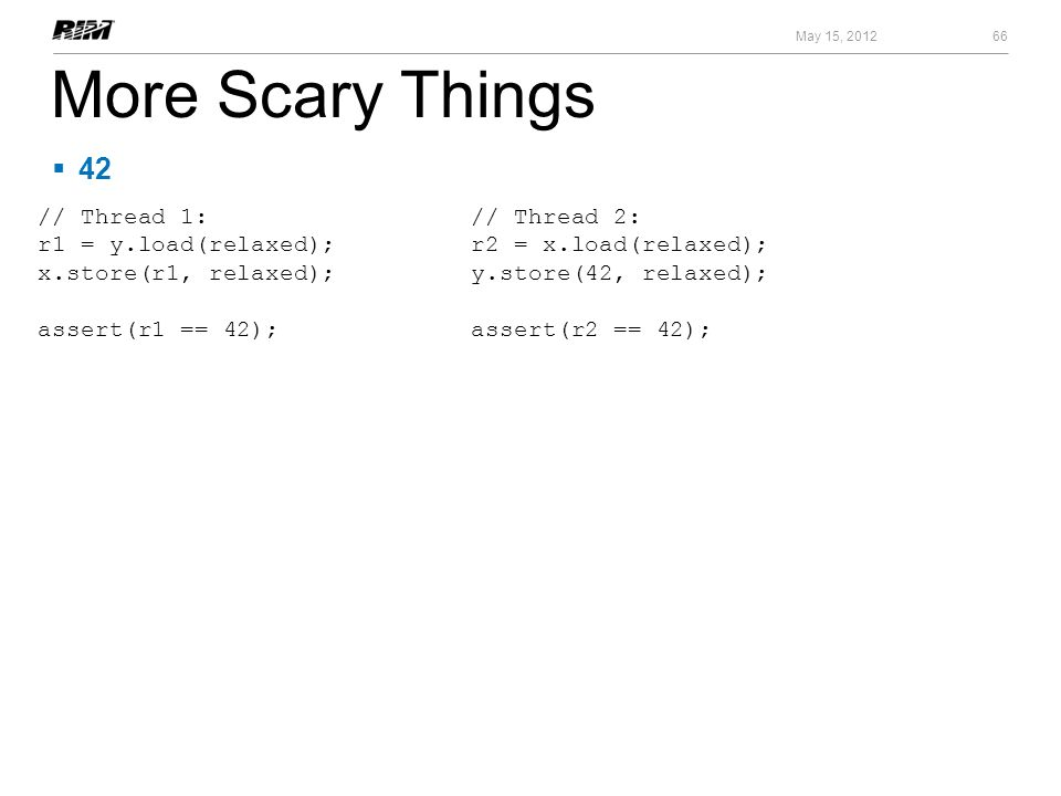 More Scary Things 42 // Thread 1: r1 = y.load(relaxed);