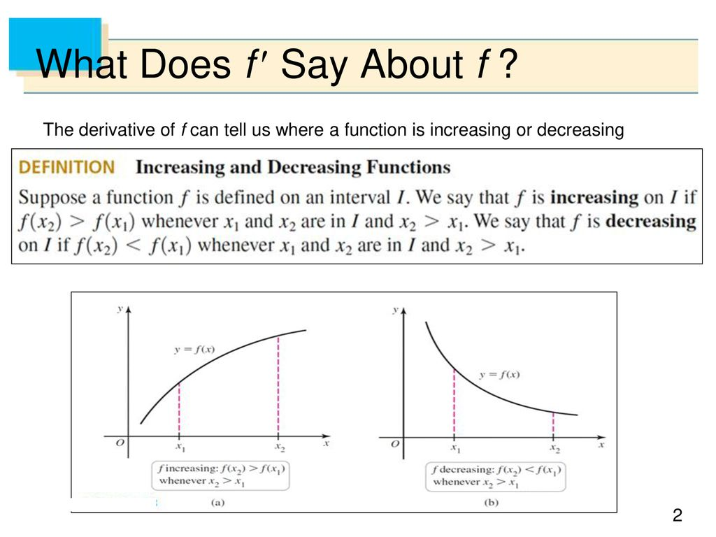 Relationship between First Derivative, Second Derivative and