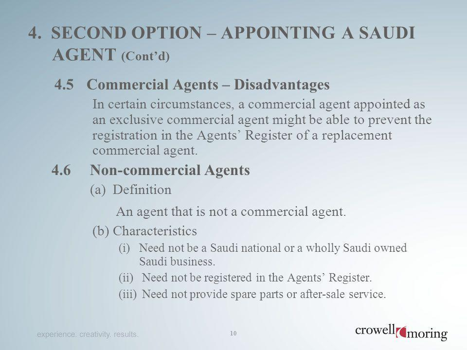4. second option – appointing a saudi agent (Cont'd)