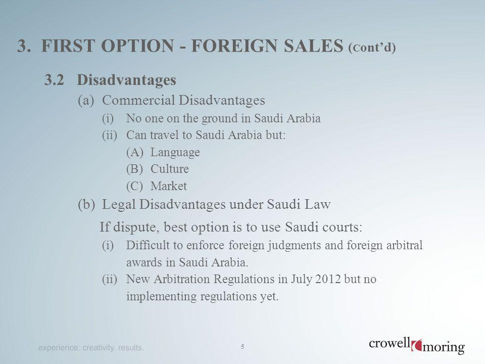 3. first option - foreign sales (cont'd)