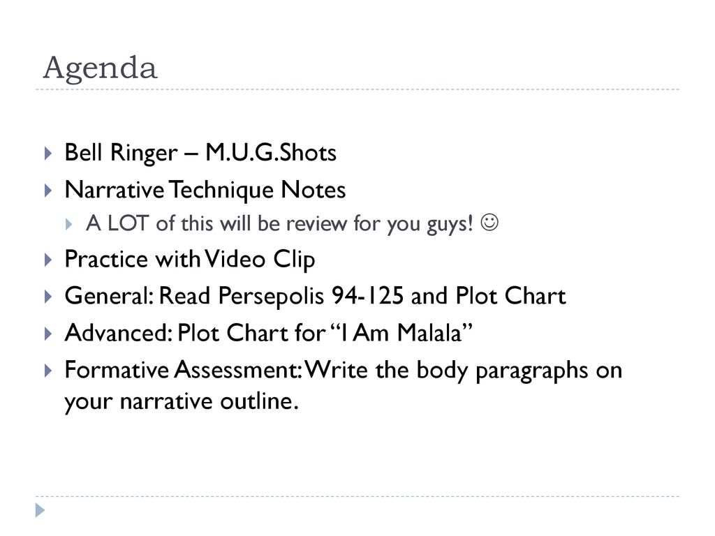 Agenda Bell Ringer M U G Shots Narrative Technique Notes