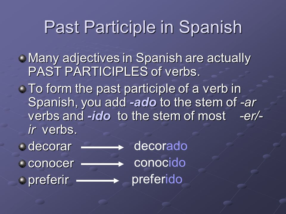 Past Participle in Spanish
