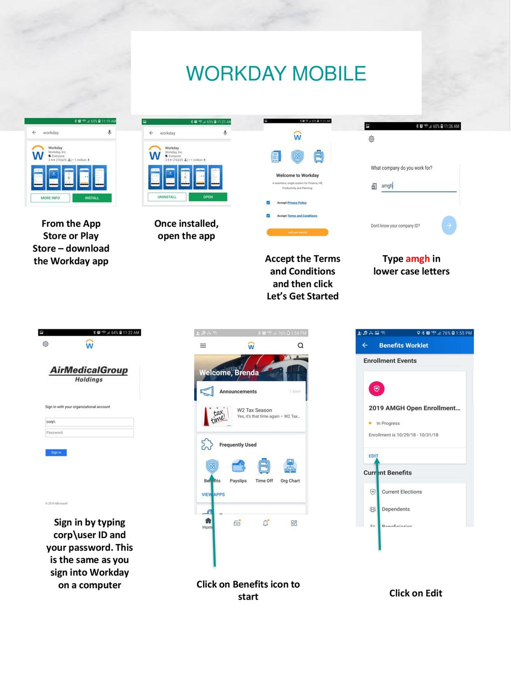 Workday mobile From the App Store or Play Store – download