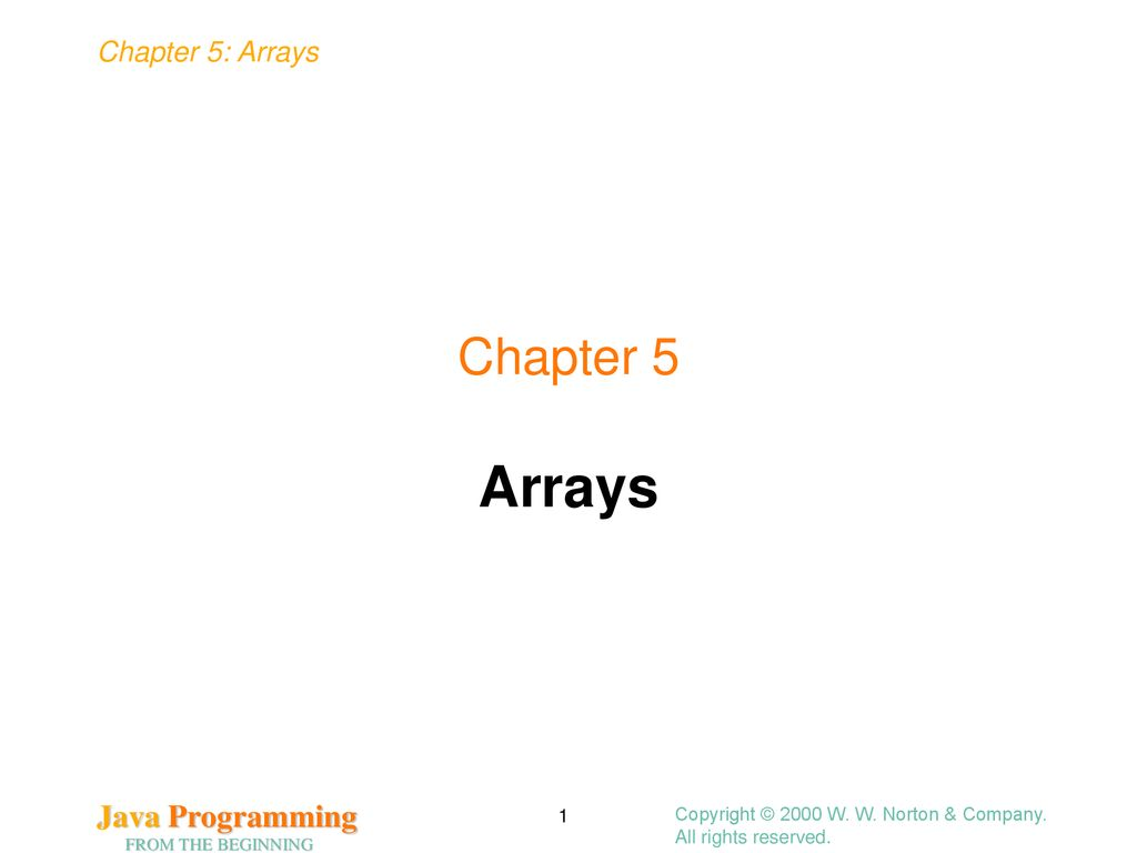 Arrays Chapter 5 Copyright © 2000 W. W. Norton & Company.