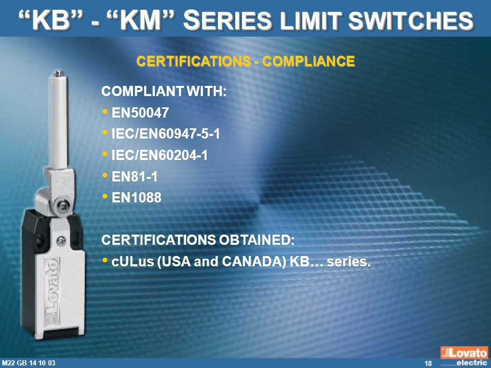 KB - KM SERIES LIMIT SWITCHES CERTIFICATIONS - COMPLIANCE