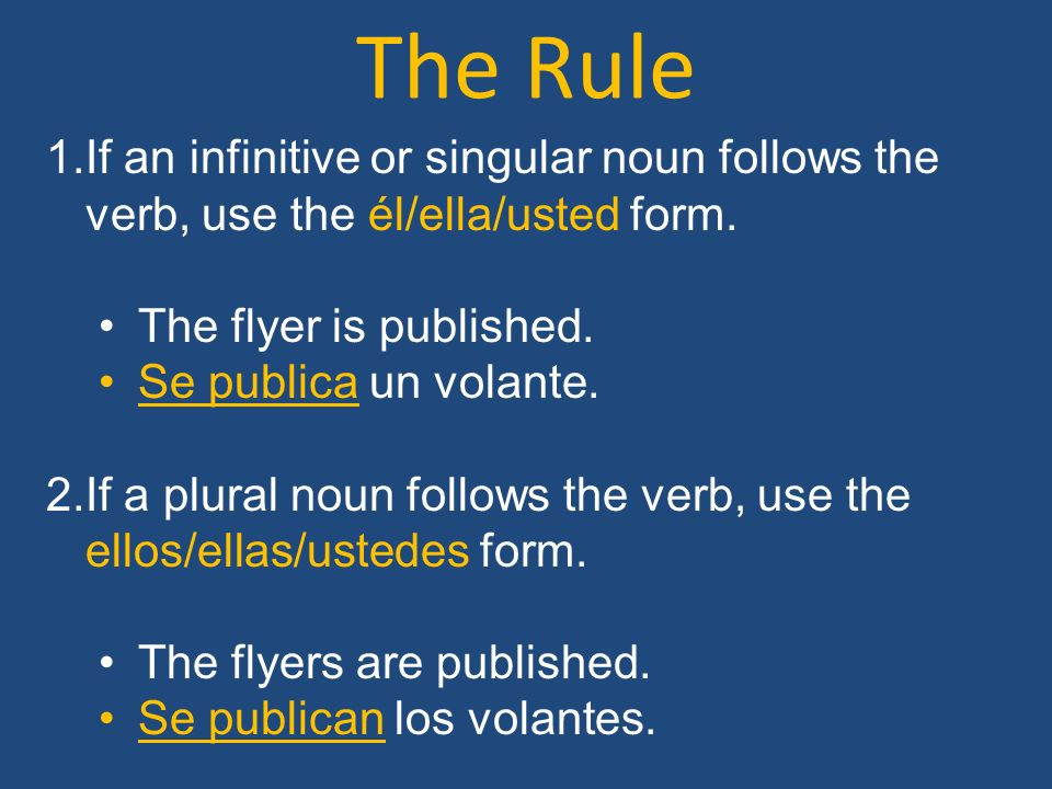 The Rule If an infinitive or singular noun follows the verb, use the él/ella/usted form. The flyer is published.